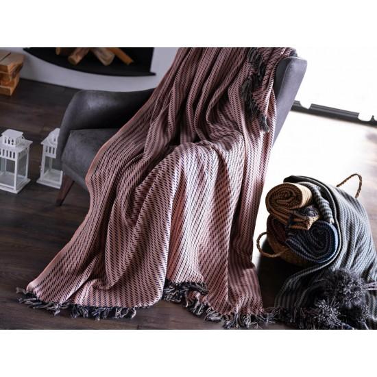 Doqu Home Battaniye Çift Kişilik Örgü - Yavruağzı