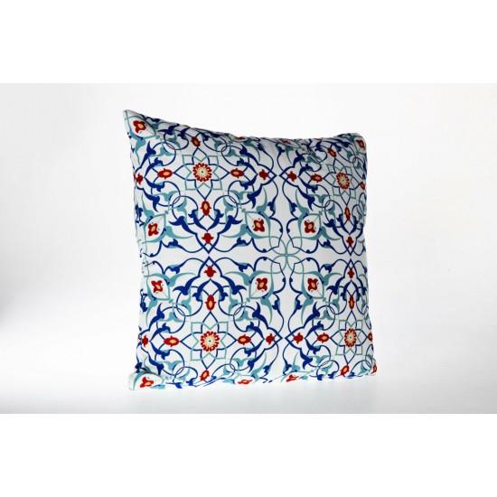Doqu Home Ottoman Desenli Baskılı Kırlent Kılıfı OTM04 45x45 - Mavi